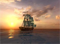 Pirate Ships Sailing
