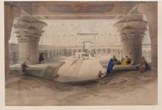 View from under the portico of Temple of Edfou [Idfû], Upper Egypt  by David Roberts