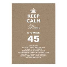 Keep Calm Funny Milestone Birthday Party Invite Designed By - Funny birthday invitations adults