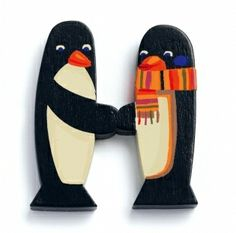 image of Wooden Letter 'H' - Penguins
