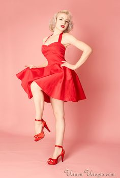 Red Vintage Style Halter Dress /Pin Up/Rockabilly [the-Monroe-dress-red] - $59.99 : Uturn Utopia, Retro footwear, Rockabilly Shoes, Vintage Inspired Clothing, jewelry, Steampunk