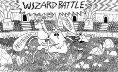 Wizard Battle promo art by Jesse Moynihan