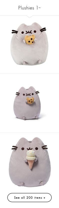 """""""Plushies 1~"""" by safella ❤ liked on Polyvore featuring plush, accessories, pusheen, plushies, fillers, stuffed animals, toys, fillers - grey, plushie and stuffed toys"""