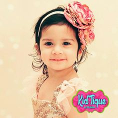 Custom made headbands with satin flowers Shabbies  and chic colors only at KidTique of Mcallen