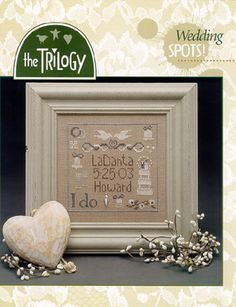 Trilogy Wedding Spots - Cross Stitch Pattern.  Model stitched on over 2 threads on 32 Ct. Dirty Belfast linen using Weeks Dye Works and Gentle Art threads. DMC
