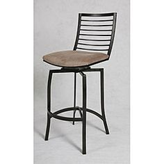 @Overstock - This 30-inch high swivel 'Kayak Point' bar stool comes in a phantom metal finish and the seat is upholstered in bella cocoa fabric. A sculpted metal backrest lends a modern, stylish look to this stool.
