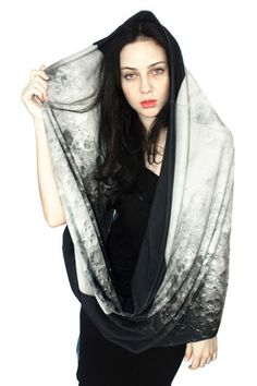 """Such a cool accessory with an image straight from NASA! """"Oversized Lunar Scarf"""" Click here! http://www.arturbane.com/collections/creative-fashion-accessories/products/oversized-lunar-scarf #fashion #scarf #moon $120"""