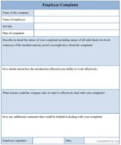Charming Employee Complaint Form