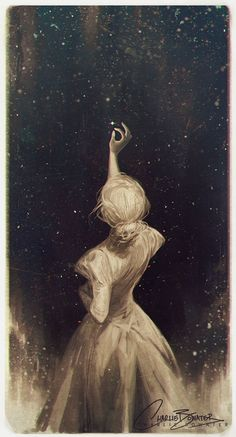 """mignonne-allons-voir-si-la-rose: """" Charlie Bowater: """" """"Though my soul may set in darkness, it will rise in perfect light; I have loved the stars too fondly to be fearful of the night."""" A little doodle for one the most beautiful lines from any poem,..."""