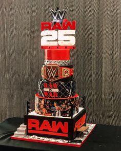 An amazing WWE Wrestling Cake Decorating Idea Wwe Birthday Cakes, Wrestling Birthday Parties, Double Birthday Parties, Novelty Birthday Cakes, Birthday Themes For Boys, Birthday Ideas, 7th Birthday, Happy Birthday, Wrestling Cake