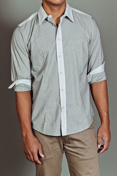 Contrast Trim Solid Woven Grey