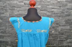 Chiapas Flowered Dress Huipil Dress Mexican Dress   Etsy Flower Dresses, Blue Dresses, Short Dresses, Mexican Skirts, Mexican Embroidered Dress, Flower Shirt, Ethnic Dress, Handmade Clothes, Colorful Flowers