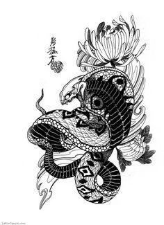 snake tattoo japanese - Buscar con Google