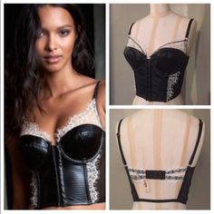 VS Leather Lace Luxe Bustier Top! Stunning piece from VS! Mesh sides and faux leather on front. Hook and eye closures up front. Lightly padded cups, not push up. Chantilly white lace trim and accents. Hook and eye closures in back with adjustable straps. BNWT size 32D! SO pretty! No holds or trades. Final price unless bundled! Victoria's Secret Intimates & Sleepwear