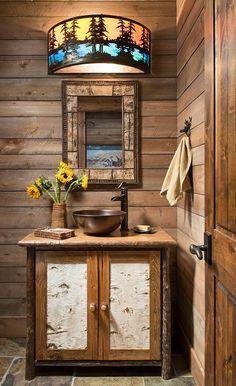 Rustic western cabin bathroom