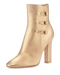 Gianvito Rossi - Savoie Metallic Button-Loop Ankle Boot, Gold