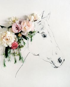 Kari Herer // horse with flowers for it's mane. This would be a pretty diy canvas for a little girl's bedroom that loves horses!