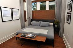 kleine schlafzimmer kreativ gestalten schwarzweis Fotos und Bettwäsche in Grau