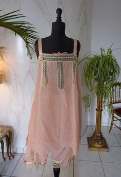 Pink Silk Slip and Bloomer Set, 1920s