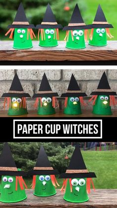 Paper cup witches Easy Halloween craft for preschoolers and older kids or cheap. - halloween decorations - Paper cup witches Easy Halloween craft for preschoolers and older kids or cheap Halloween decorati - Cheap Halloween Decorations, Halloween Arts And Crafts, Halloween Crafts For Toddlers, Halloween Tags, Easy Christmas Crafts, Halloween Witches, Thanksgiving Crafts, Halloween Activities For Preschoolers, Kids Halloween Games