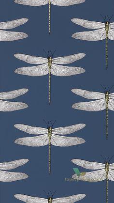 Tapeta Harlequin vintage palmetto, w ważki dragonfly