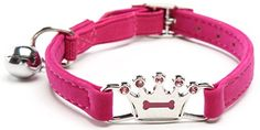 Pink Designer Crown Cat Collar with Safety Belt and Bell 8-11 Inches -- For more information, visit