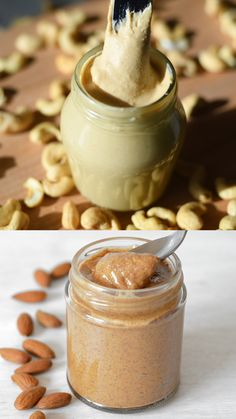 Homemade nut and seed butter recipes without oil. Tips for making nut butter and recipes for almond butter, cashew butter, coconut butter and sunflower cookie butter Coconut Butter Recipes, Flavored Butter, Nut Recipes, Homemade Butter, Cashew Butter, Whole Food Recipes, Healthy Recipes, Almond Peanut Butter Recipe, Sunflower Seed Butter Recipes