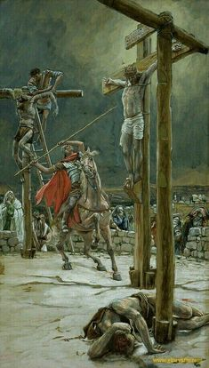 The Strike of the Lance // // James Tissot // The Life of Our Lord Jesus Christ // Brooklyn Museum James Joseph, Crucifixion Of Jesus, Life Of Christ, Biblical Art, Holy Week, Jesus Pictures, Bible Stories, Sacred Art, Bible Art