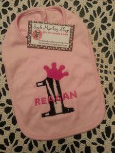 Personalized Princess Zebra Hot Pink 1st Birthday Pink Bib | sockmonkeyshop - Children's on ArtFire