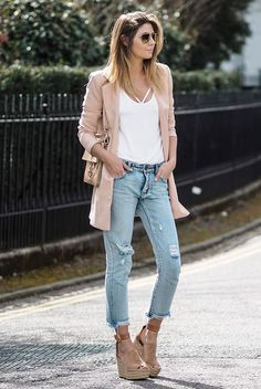 spring outfit, summer outfit, casual outfit, spring fashion, summer fashion, street style, street chic style - blush blazer, pale pink blazer, white cami top, distressed crop jeans, brown wedges, aviator sunglasses, beige shoulder bag