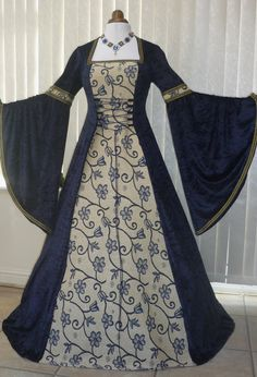 Imagine this in white and cream.  Renaissance Medieval Wedding Dress Navy blue Tapestry