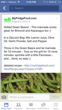 Grilled green beans, yum!