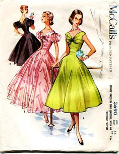 1950s Dress Pattern Vintage McCalls 3690 Stunning Formal Tea Length Evening Gown or Shorter Dress Rare Pattern Wedding Dress Potential
