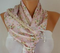 Women  Shawl Scarf   Cowl Scarf  with Lace Edge  Pink by fatwoman, $17.00