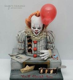 Pennywise the dancing clown cake! - cake by Sugar Canvas- Pennywise the dancing clown cake! – cake by Sugar Canvas Pennywise the dancing clown cake! – cake by Sugar Canvas - Crazy Cakes, Fancy Cakes, Cute Cakes, Unique Cakes, Creative Cakes, Beautiful Cakes, Amazing Cakes, Cupcake Original, Bolo Halloween
