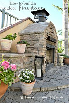 How to Build an Outdoor Stacked Stone Fireplace, step by step tutorial with pictures!