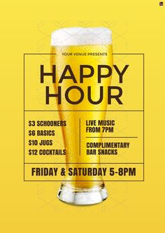 Happy Hour modern poster / campaign graphics. Customise your food & beverage offer graphics with pre-designed templates in easil.com