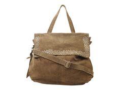 De Cowboysbag Rothes is een heerlijke flap-over schoudertas van zachte suede in een diepe taupe...