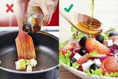 Si sobrecalientas el aceite de oliva, perderá todas sus propiedades buenas y empezará a quemarse, lo cual puede arruinar el sabor de tus platillos. Por eso conserva el aceite de oliva para aderezar ensaladas y usa aceite refinado de girasol para freír .