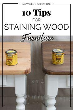 10 Tips for Staining Wood Furniture - Diy Möbel Staining Wood Furniture, Diy Furniture Easy, Refurbished Furniture, Repurposed Furniture, Furniture Plans, Furniture Makeover, Painted Furniture, Bedroom Furniture, Furniture Stores