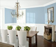 Look at the paint color combination I created with Benjamin Moore. Via @benjamin_moore. Wall: Serenata AF-535; Trim & Wainscot: Distant Gray 2124-70; Ceiling: Distant Gray 2124-70.