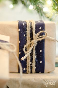 Neutral and Navy Gift Wrap with Kraft Paper, Fabric, and Twine