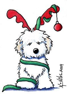 """""""Christmas Havanese"""" by Kim Niles – Christmas DIY Holiday Cards Christmas Animals, Christmas Dog, Outdoor Christmas, Christmas Wreaths, Christmas Crafts, Christmas Decorations, Christmas Ornaments, Painted Christmas Cards, Christmas Quotes"""