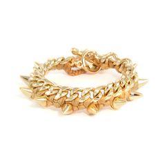 Tan Cotton Thread Bracelet on Chain Link with Gold Spikes #ettika #rocker #rockandroll #jewelry #accessories  #boho #bracelet #spike