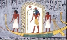 """The Sun God Ra traveling in his Solar Barge to traverse the underworld. """"Hail, thou Disk, thou lord of rays, who risest on the horizon day by day! Shine thou with thy beams of light upon the face of Osiris Ani, who is true of voice; for he singeth hymns of praise unto thee at dawn, and he maketh thee to set at eventide with words of adoration..."""""""