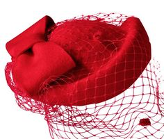 1940s red hat with veil. Best seller on Amazon. More colors too.