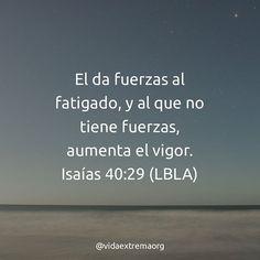 El da fuerza al fatigado, y al que no tiene fuerzas, aumenta el vigor. Isaías 40:29.