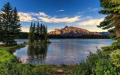 Lataa kuva Banff National Park, vuoret, sunset, lake, Alberta, Kanada