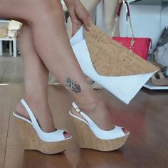 Online Shop 2019 spring and summer new fish mouth with buckle wedge sandals super high heel fashion sandals female large size Super High Heels, Sexy High Heels, Wedge Sandals, Wedge Shoes, Sandal Heels, Shoes Heels Boots, Heeled Boots, Shoes Sneakers, Fashion Sandals