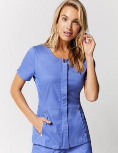 Hidden Zipper Top in Ceil Blue is a contemporary addition to women's medical scrub outfits. Shop Jaanuu for scrubs, lab coats and other medical apparel. Stylish Scrubs, Medical Scrubs, Nursing Scrubs, Scrubs Outfit, Lab Coats, Nurse Costume, Medical Uniforms, Scrub Tops, Casual